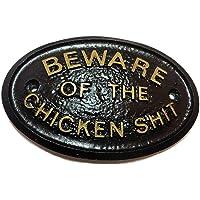"""""""cuidado con la gallina"""" puerta/Coop placa en negro"""