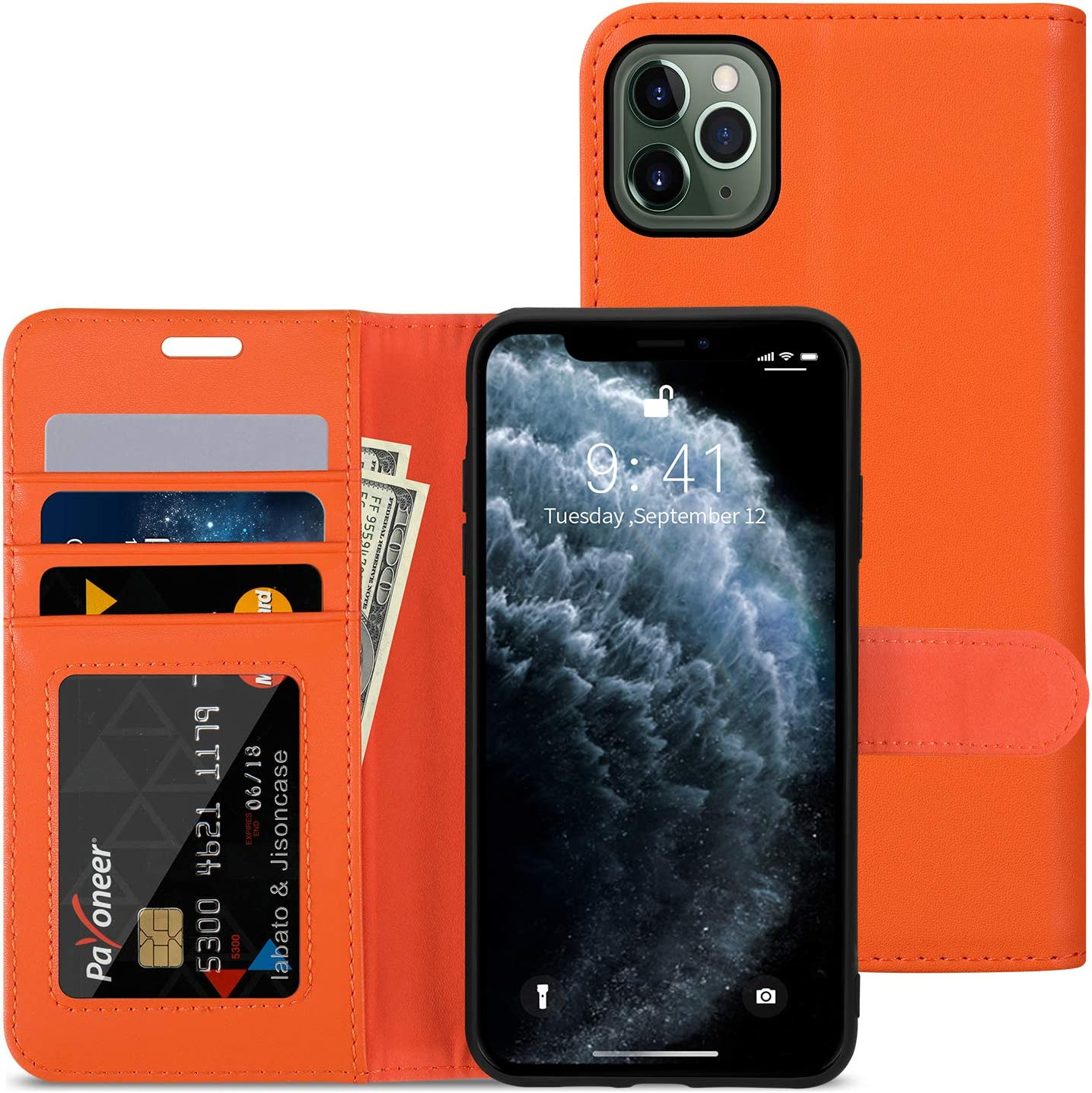 labato iPhone 11 Pro Max Wallet Case, Leather iPhone 11 Pro Max Case with Credit Card Holder Slot Magnetic Closure Shockproof Flip Stand Case Cover for Apple iPhone 11 Pro Max 6.5 inch Orange