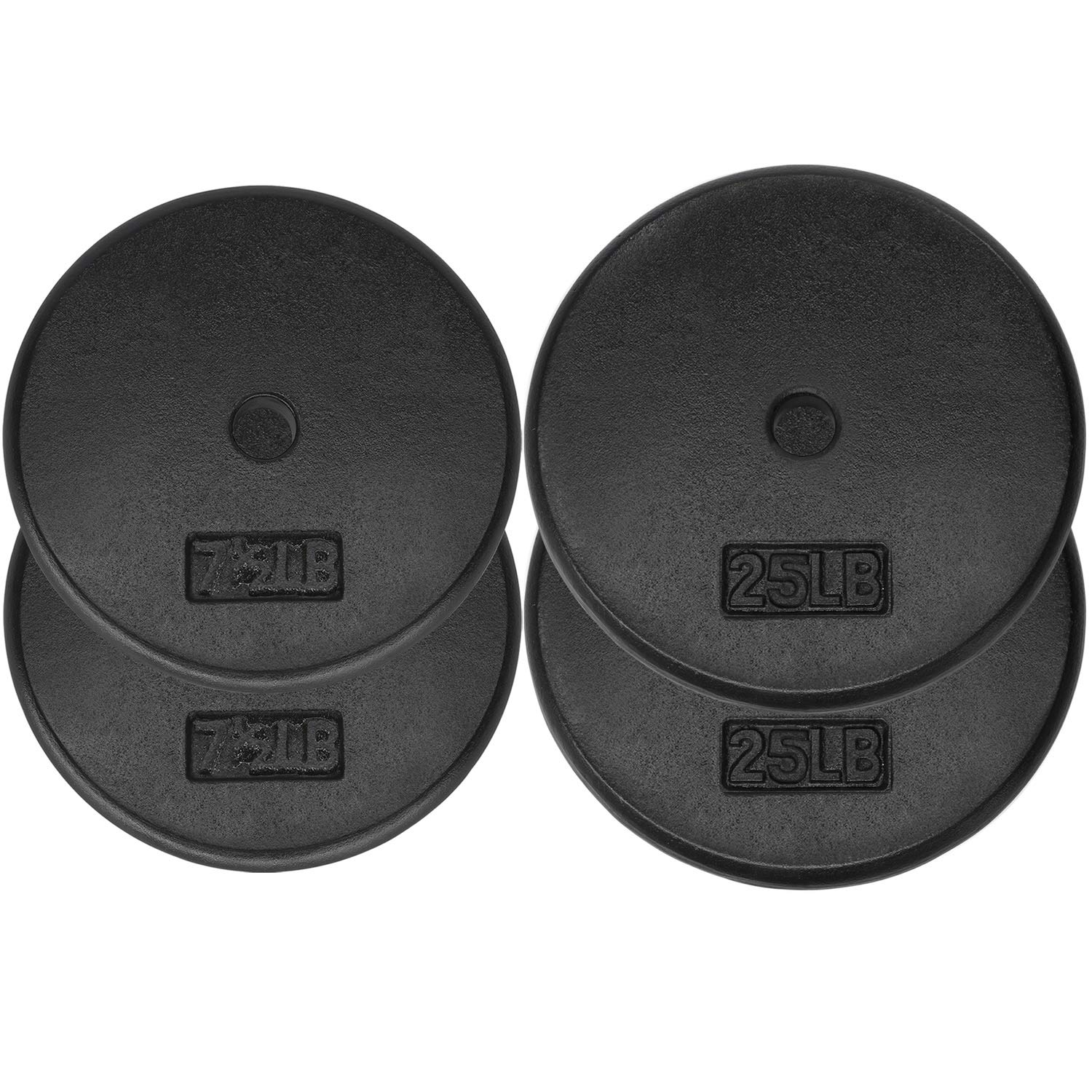 Yes4All 1-inch Cast Iron Weight Plates for Dumbbells – Standard Weight Plates (Combo 7.5lb x 2pcs + 25lb x 2pcs)