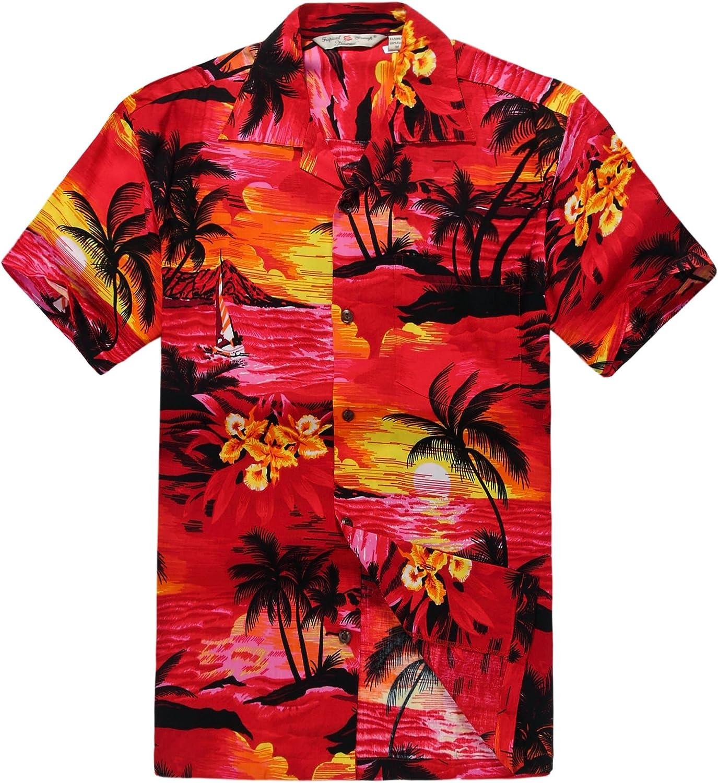 Couple Matching Hawaiian Luau Outfit Aloha Shirts in Sunset Red