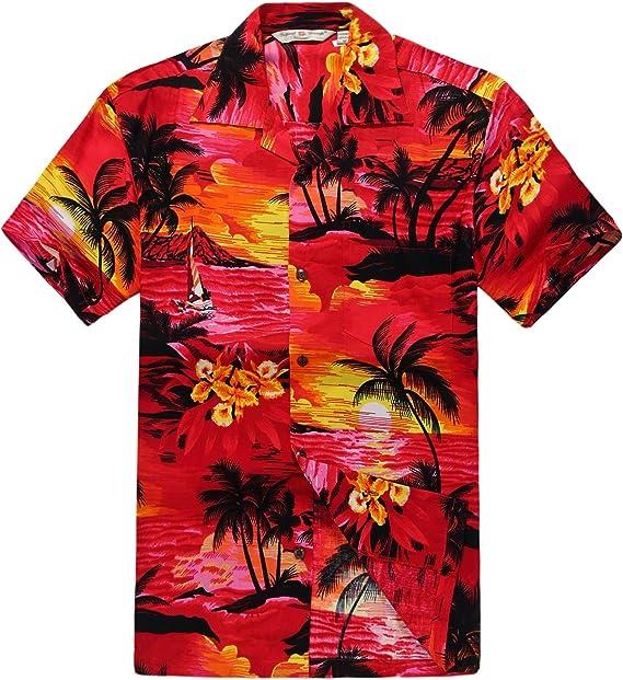 Combinación Hawaiana Luau Outfit Hombre Camisa Chica Vestido en Puesta de Sol roja: Amazon.es: Ropa y accesorios