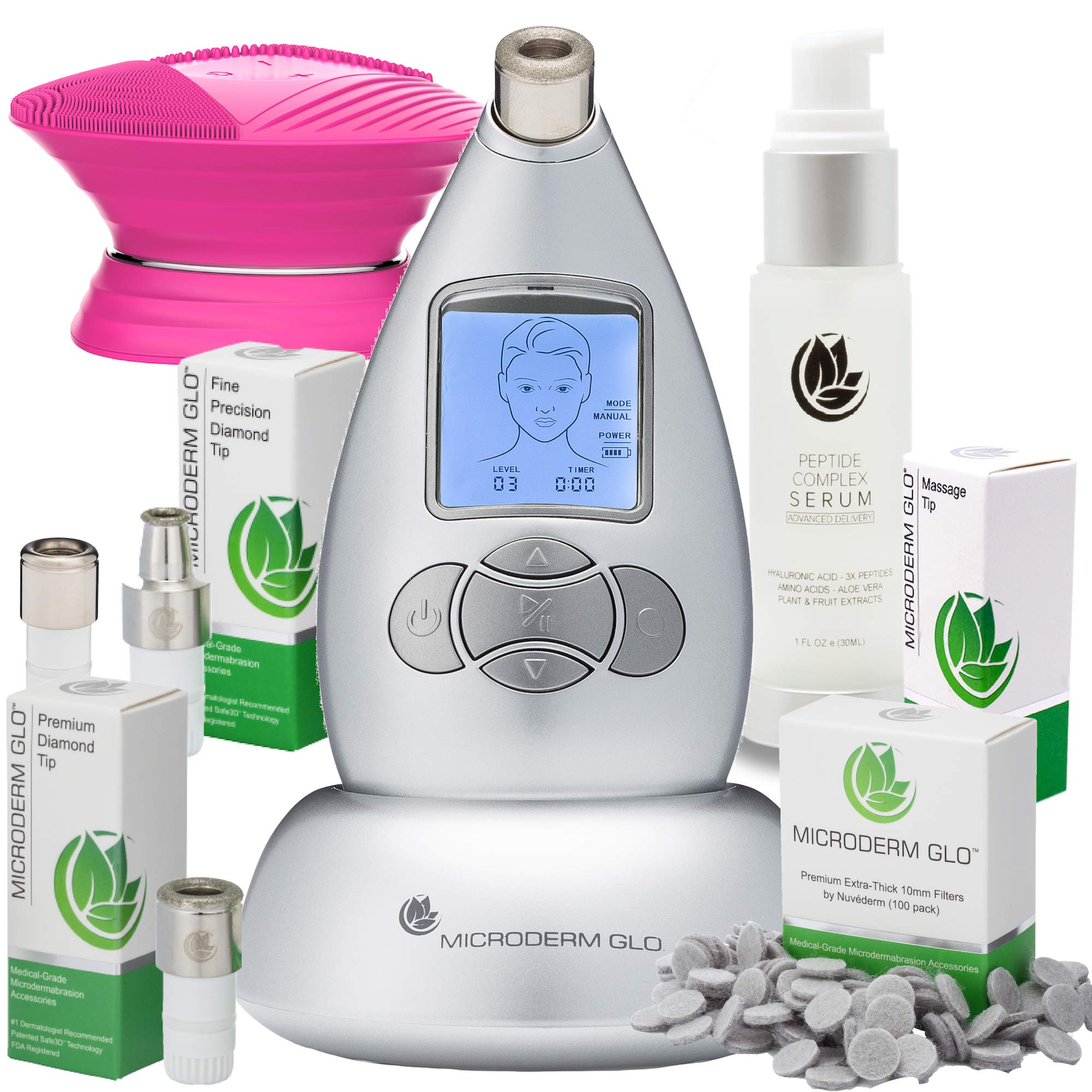 Microderm GLO Complete Skincare Package Includes Diamond Microdermabrasion System, Premium, Fine, Massage Tips, 10mm Filters 100 pack, Peptide Complex Serum & Sonic Facial Cleansing Brush (Silver) by Microderm GLO