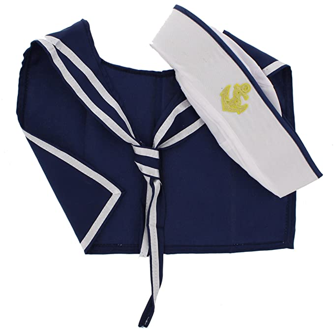 Sailor Dresses, Nautical Theme Dress, WW2 Dresses Zacs Alter Ego Mens Fancy Dress Sailor Hat & Scarf Set One Size White/Navy Blue $16.49 AT vintagedancer.com