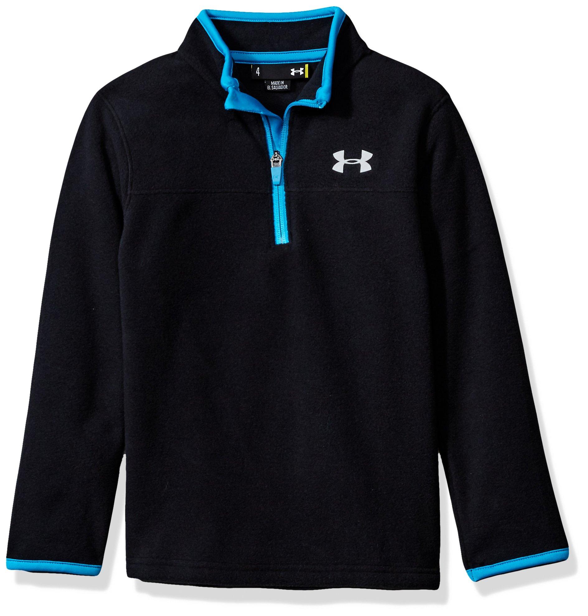 Under Armour Boys' Little Solid Logo 1/4 Zip Fleece Sweater, Black, 5