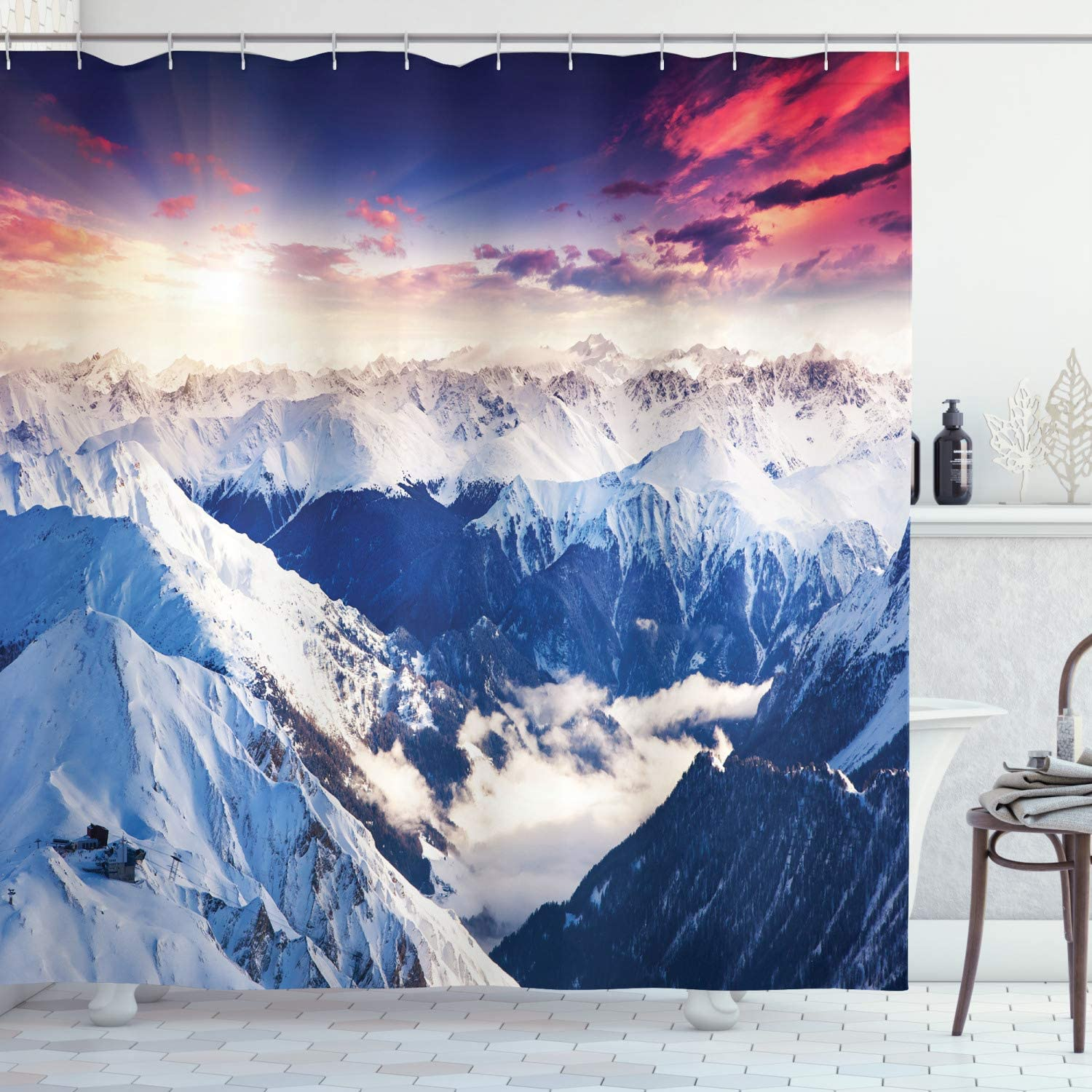 Ambesonne Cottage Decor Collection White Green Polyester Fabric Bathroom Shower Curtain Scenery of Image Lake and Snowy Glacier Peak in Washington USA with Tall Pine Tree Forest 75 Inches Long