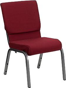 Flash Furniture HERCULES Series 18.5''W Stacking Church Chair in Burgundy Fabric - Silver Vein Frame