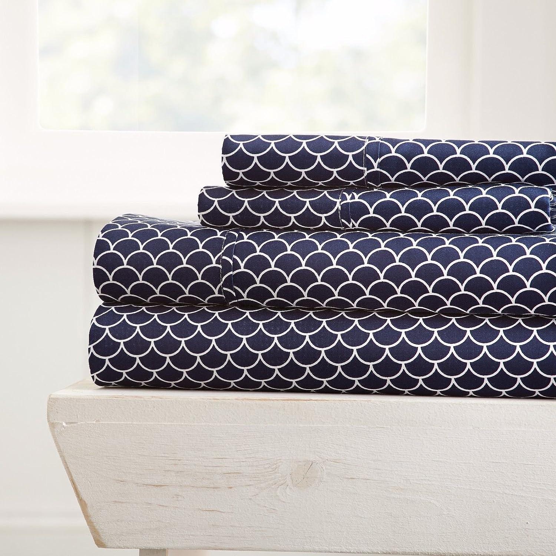Premium - Ultra Soft - 4 Piece Bed Sheet Sets/Scallops/Navy/California King