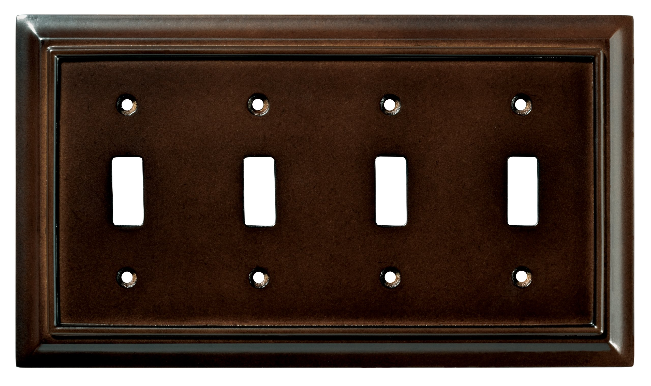 BRAINERD 126345 Wood Architectural Quad Toggle Switch Wall Plate/Switch Plate/Cover, Espresso