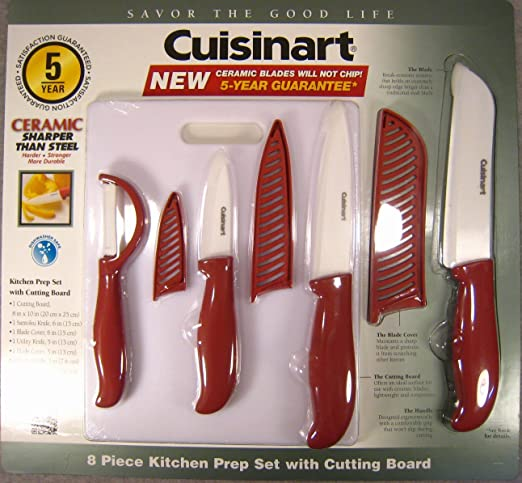 Amazon Com Cuisinart 8 Piece Ceramic Knife Kitchen Prep Set With Cutting Board Red Boxed Knife Sets Kitchen Dining