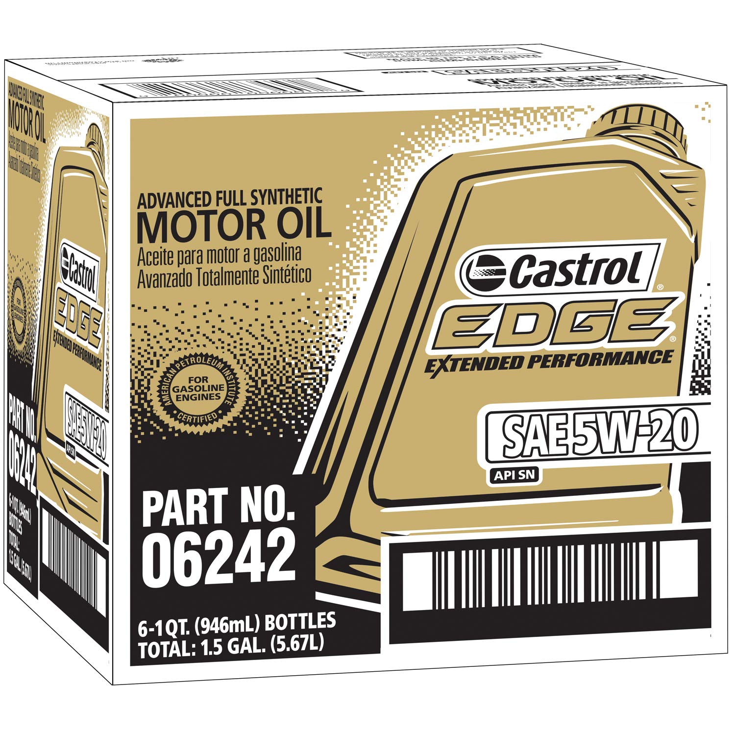 Amazon.com: Castrol 06242 EDGE Extended Performance 5W-20 Advanced Full Synthetic Motor Oil, 1 Quart, 6 Pack: Automotive