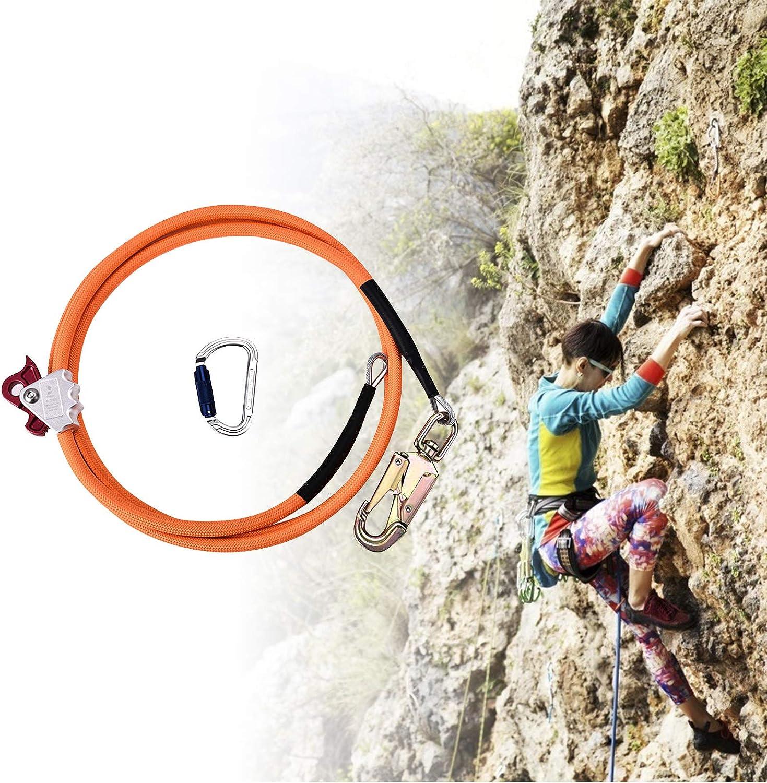 TOPQSC Kit de Cuerda de Seguridad de Alambre de Acero 12mm*3.6m Cuerda Seguridad con Triple Lock Mosquetón Ajustador, Estiramiento Bajo para ...