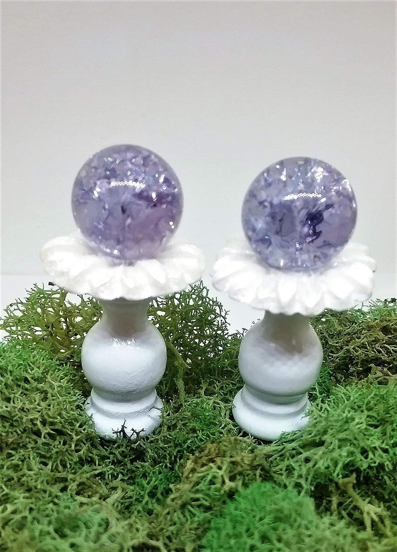 Set of 2 miniature purple gazing balls on white flower stand. Fairy garden accessories