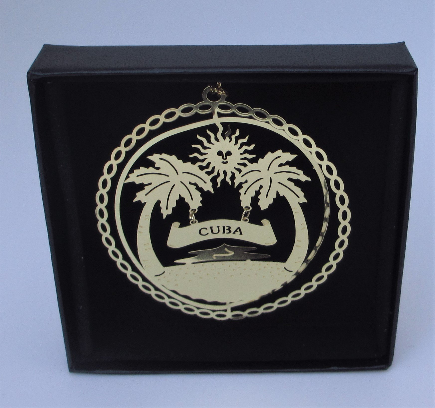 Cuba Brass Ornament Black Leatherette Gift Box
