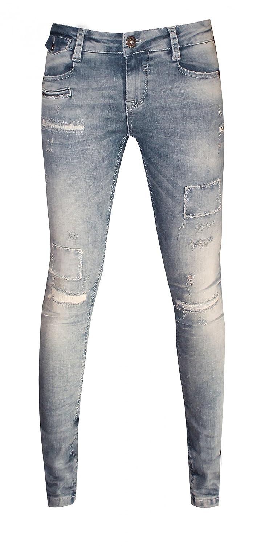 Zhrill Damen Jeans Hose mit unterlegten Destroyed Effekten blau, Größe:27