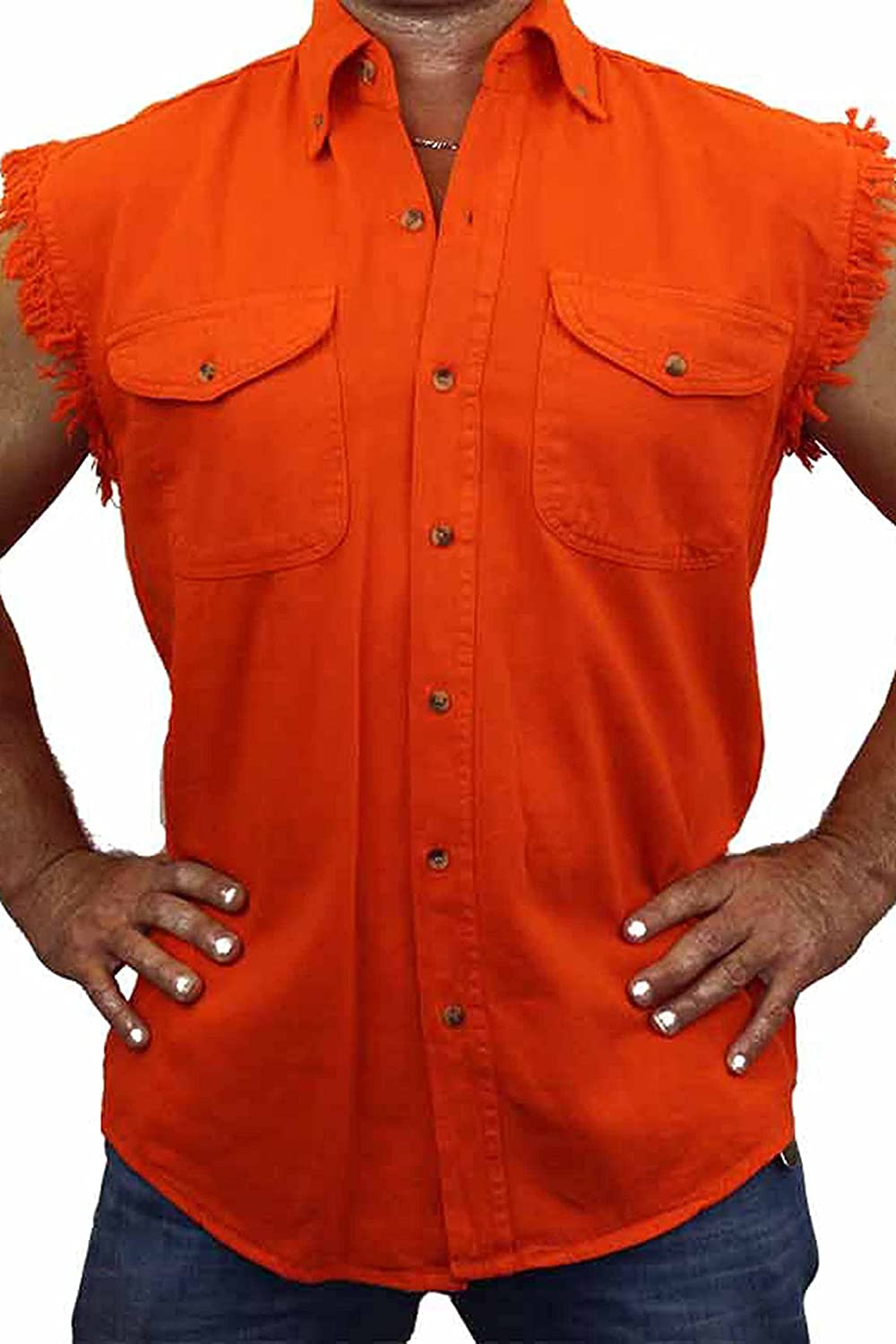 SHORE TRENDZ Mens Sleeveless Denim Shirt The Rodfather Biker Vest 5XL Orange