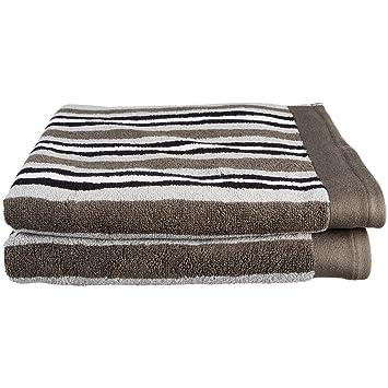 Superior - Toallas de baño, lujosas, 100% algodón, Color carbón a Rayas, Juego de 2: Amazon.es: Hogar