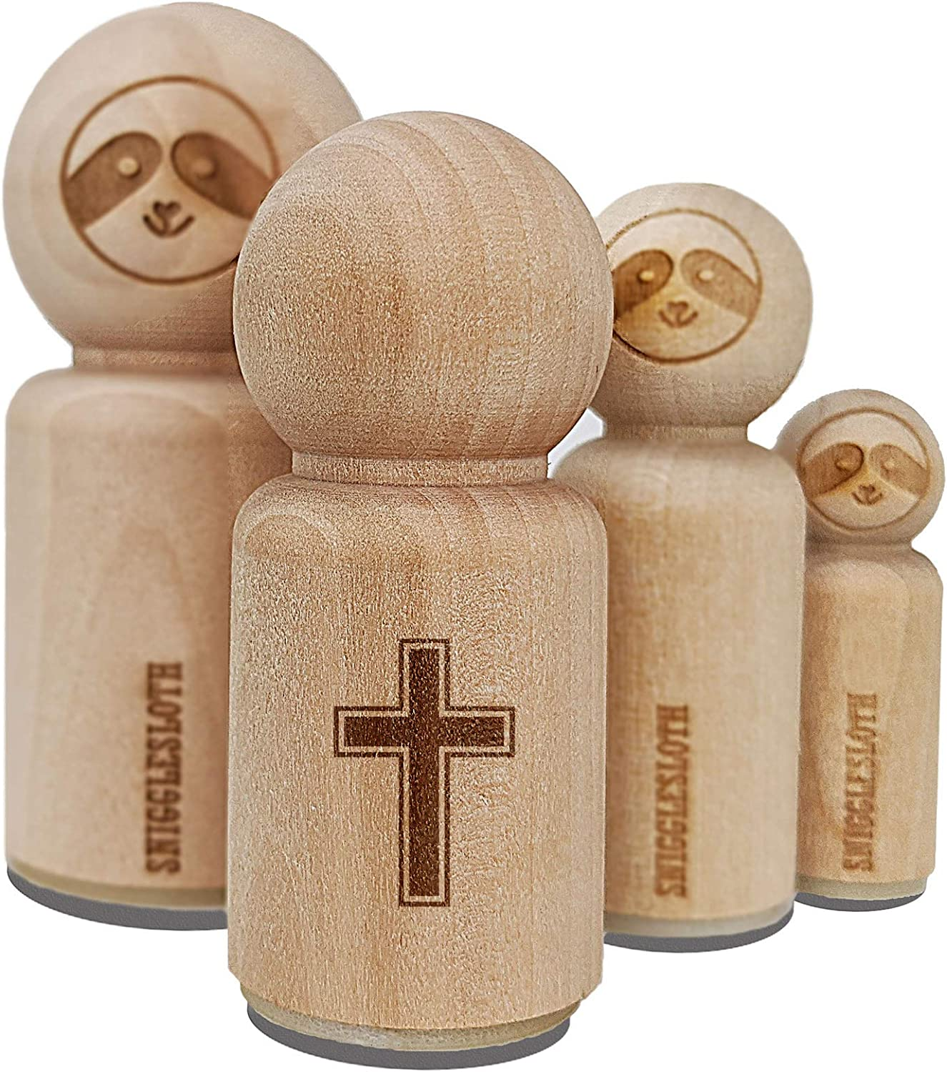 Cross with Outline Christian Rubber Stamp for Stamping Crafting Planners - 3/4 Inch Small