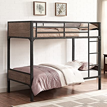 Amazon Com We Furniture Rustic Wood Twin Over Twin Bunk Bed
