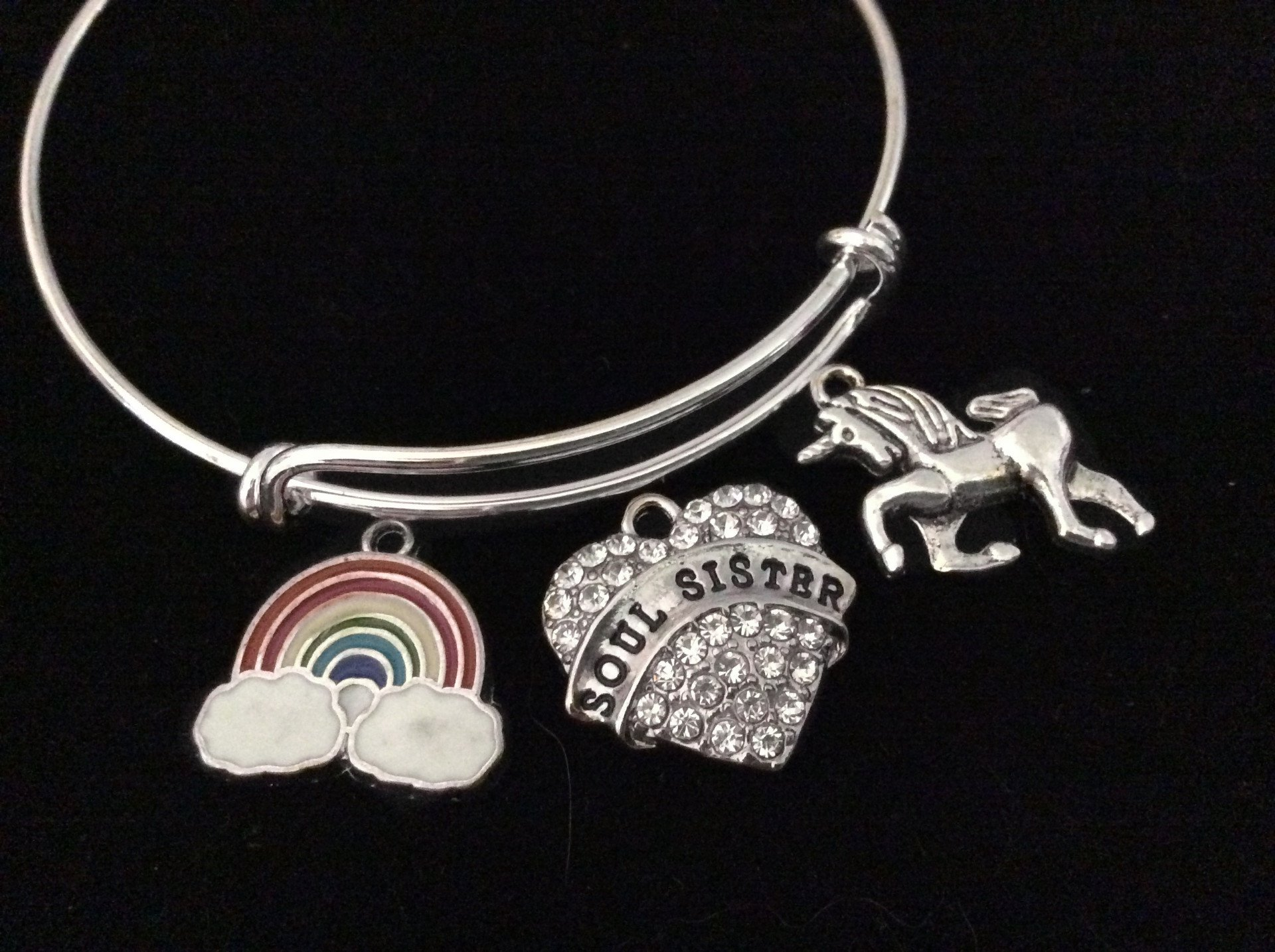 Rainbow Unicorn Soul Sister Expandable Charm Bracelet Silver Adjustable Bangle Trendy Best Friend Gift BFF 3