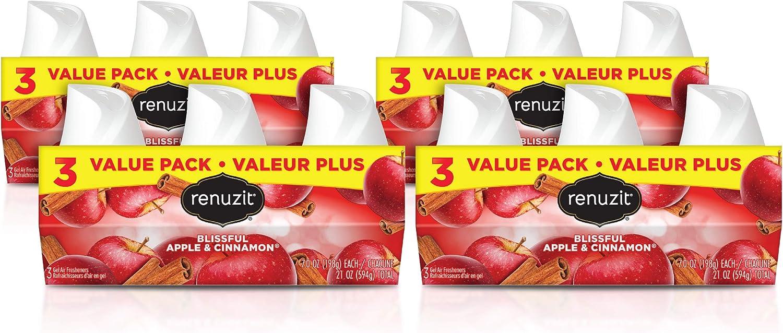Renuzit Gel Air Freshener, Blissful Apple & Cinnamon, 12 Count