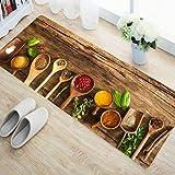 Status 3D Printed Carpet Rug in Kitchen Home Living Office Restaurant Entrance Area Anti Slip Runner Floor Mat (55x140 cm, Brown) - Pack of 1