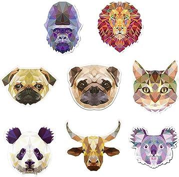 Amazon Com Shiny Bottle Sticker 8 Pcs Mix Animal Faces Pack