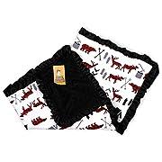 Dear Baby Gear Baby Blankets, Woodland Bear Moose Plaid, Minky Black, Black Ruffle