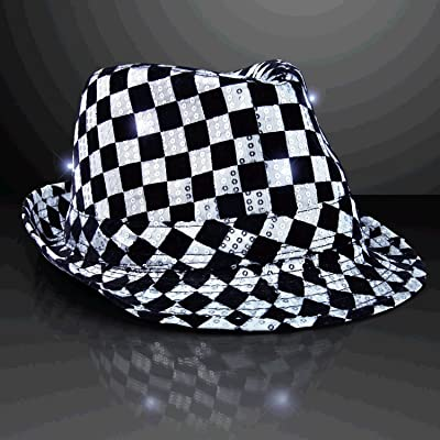 blinkee LED Flashing Fedora Hat with Checkered Sequins by: Toys & Games