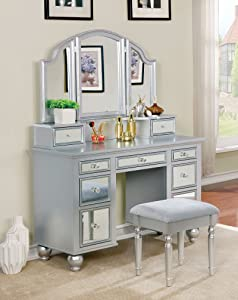 Furniture of America Tracy Silver Vanity with Stool
