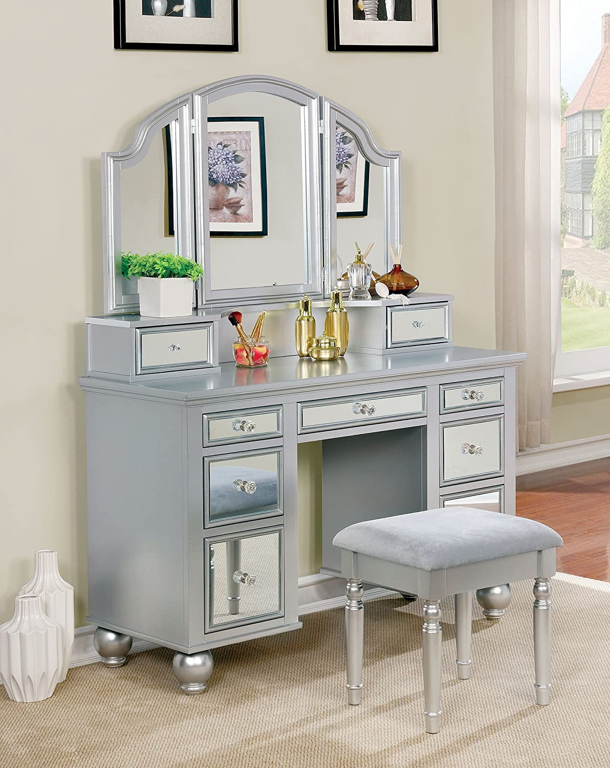 reputable site 9a3c4 cc2e1 Furniture of America CM-DK6162SV Tracy Silver Vanity with Stool