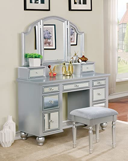 Amazon Com Furniture Of America Cm Dk6162sv Tracy Silver Vanity