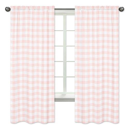 Sweet Jojo Designs Pink Buffalo Plaid Check Window Treatment Panels Curtains