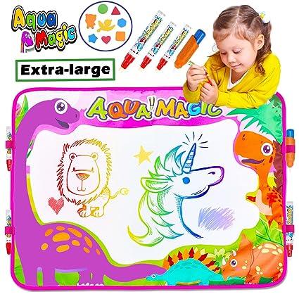Buy igeekid aqua doodle drawing mat pad 6 color large size 4 magic igeekid aqua doodle drawing mat pad 6 color large size 4 magic pens with 4 clips negle Gallery