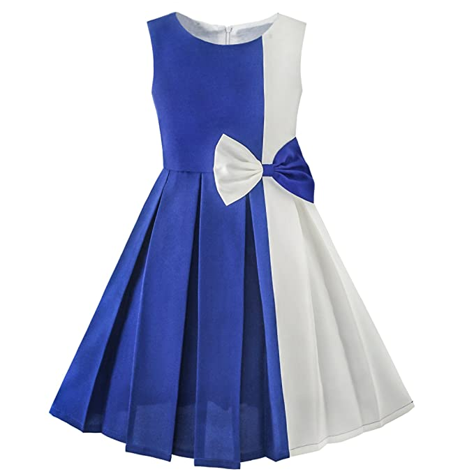 KE16 Sunny Fashion Vestido para niña Color Bloquear Contraste Bow Corbata everday Fiesta 10 años