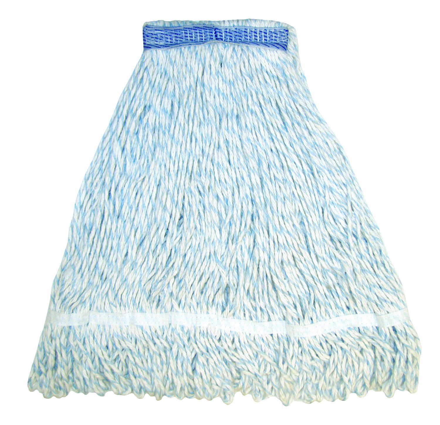 Case of 12 E-Line Finish Looped End Wet Mop 5 Mesh Band Blue//White Wilen A11402 Medium