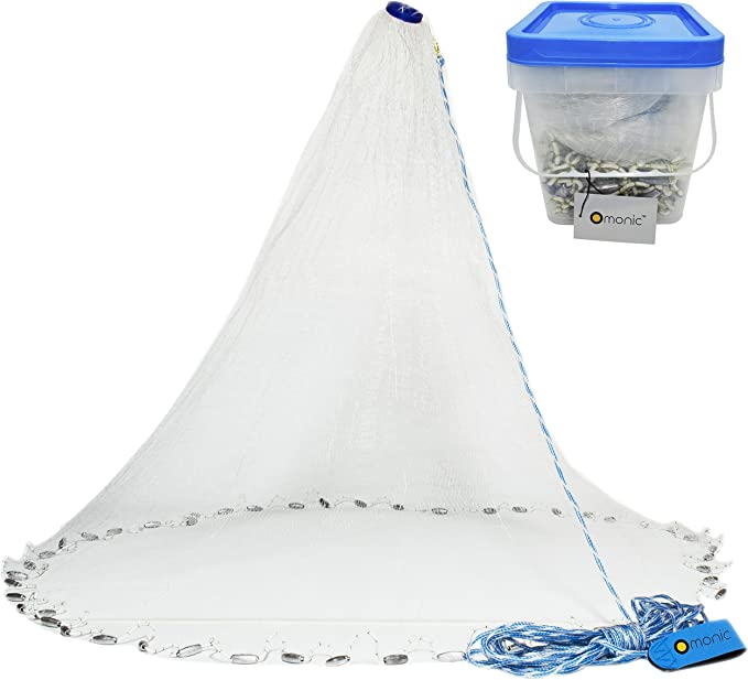 Amarine Made Freshwater Saltwater Fishing Cast Net for Bait Trap Fish,3//8 Square Mesh,4 Feet Radius Net