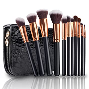 Amazon.com: Makeup Brushes, VANDER LIFE Professional Travel Rose Gold Makeup Brush Set 11Pcs with Case Organizer Crocodile Skin: Beauty