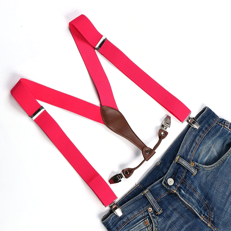Enwis Mens Suspenders Braces Polyester Elastic Adjustable Clip-on Solid Hot Pink BD618