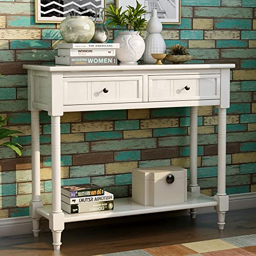 Sofa Table with Drawers Entryway Table Wood Console Table with Two Storage Drawers and Bottom for Living Room Ivory White