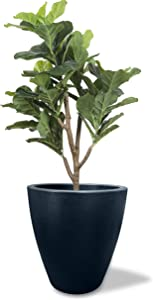 Elly Décor 17 inch Large Round Modern Garden Planter Pot with Drainage, Lightweight & Extremely Durable  for Patio Deck Indoor Outdoor Tree Black, 17