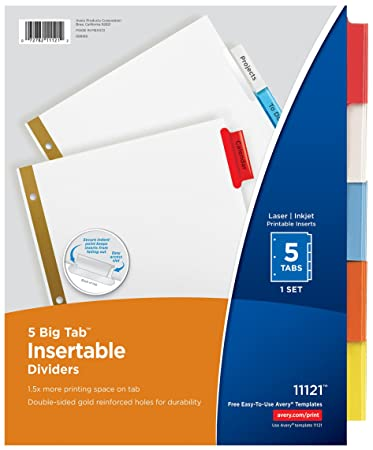 avery big tab insertable dividers 5 multicolor tabs 1 set 11121