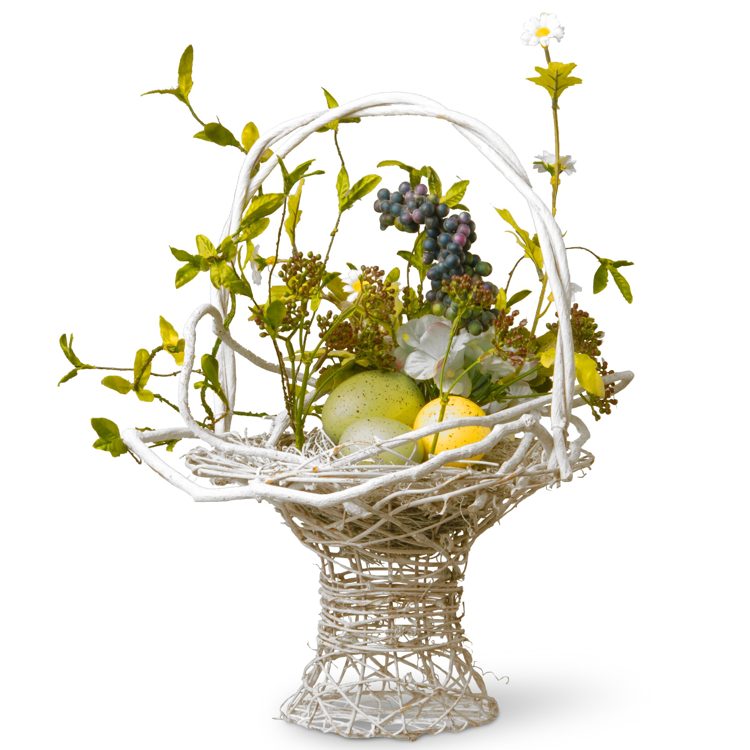 National Tree 14 Inch Weaved Wood Basket with Hydrangeas and Pastel Easter Eggs (RAE-BC030107-1)