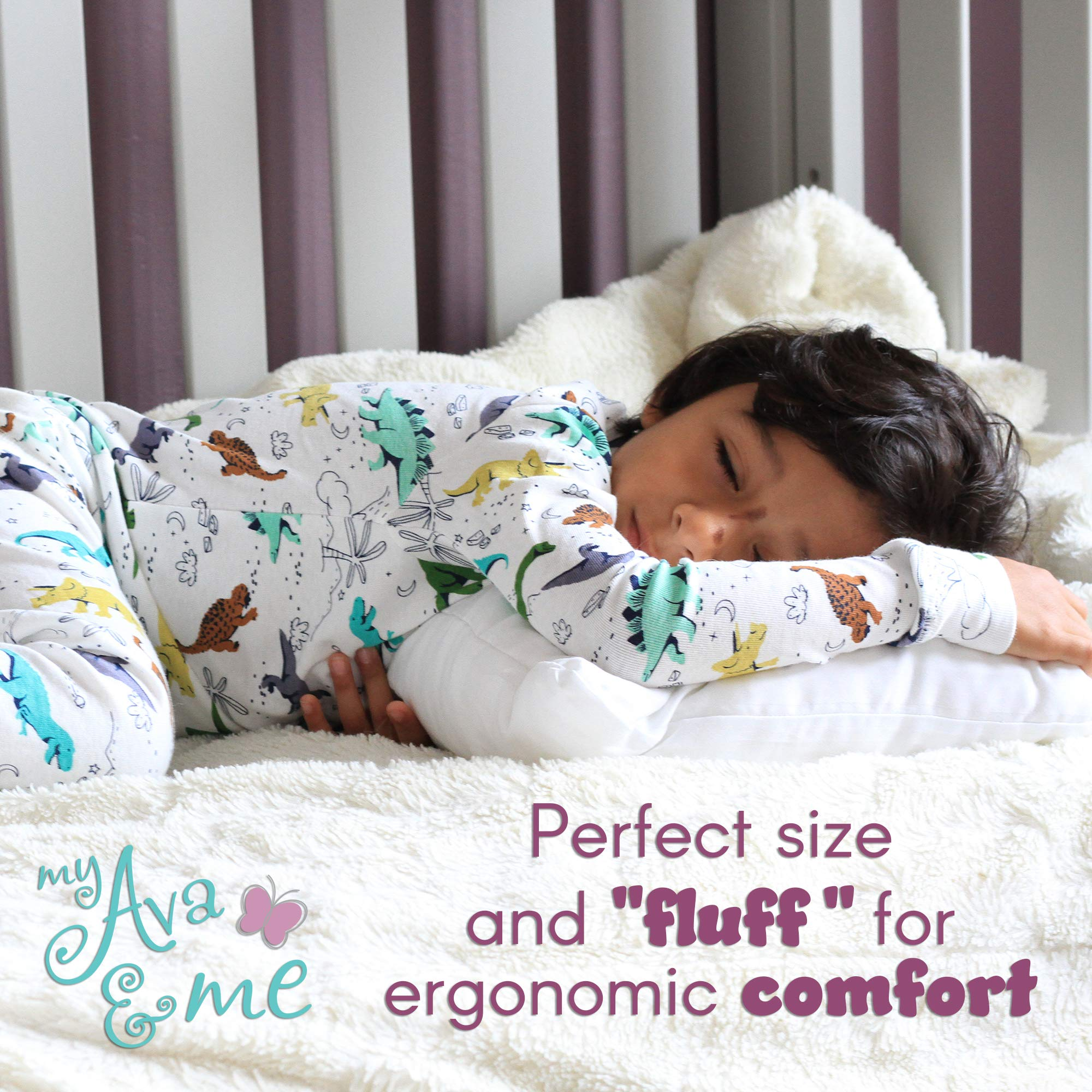 My Ava & Me: Perfect Little Sleep Pillow for Toddlers 13 x 18 Hypoallergenic 100% Cotton Soft No Crinkle Noise by my Ava and Me (Image #4)