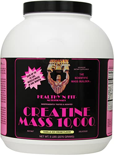 Healthy n Fit Creatine Mass 10000 5-pound Bottle Vanilla, Tub