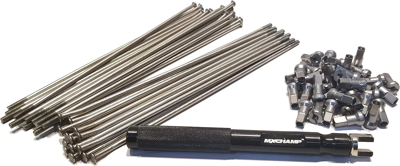 MXCHAMP Stainless Steel Spoke Nipple and Wrench Set for Front MX Rim 21 21x160 21x1.60, Black .S.S. Spokes /& Black Nipples