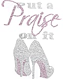 """Rhinestone Religious Iron On Large""""Put A Praise On It"""" Decal Applique T-Shirt 12 x 9"""" DIY Transfer with Small Star Decal…"""