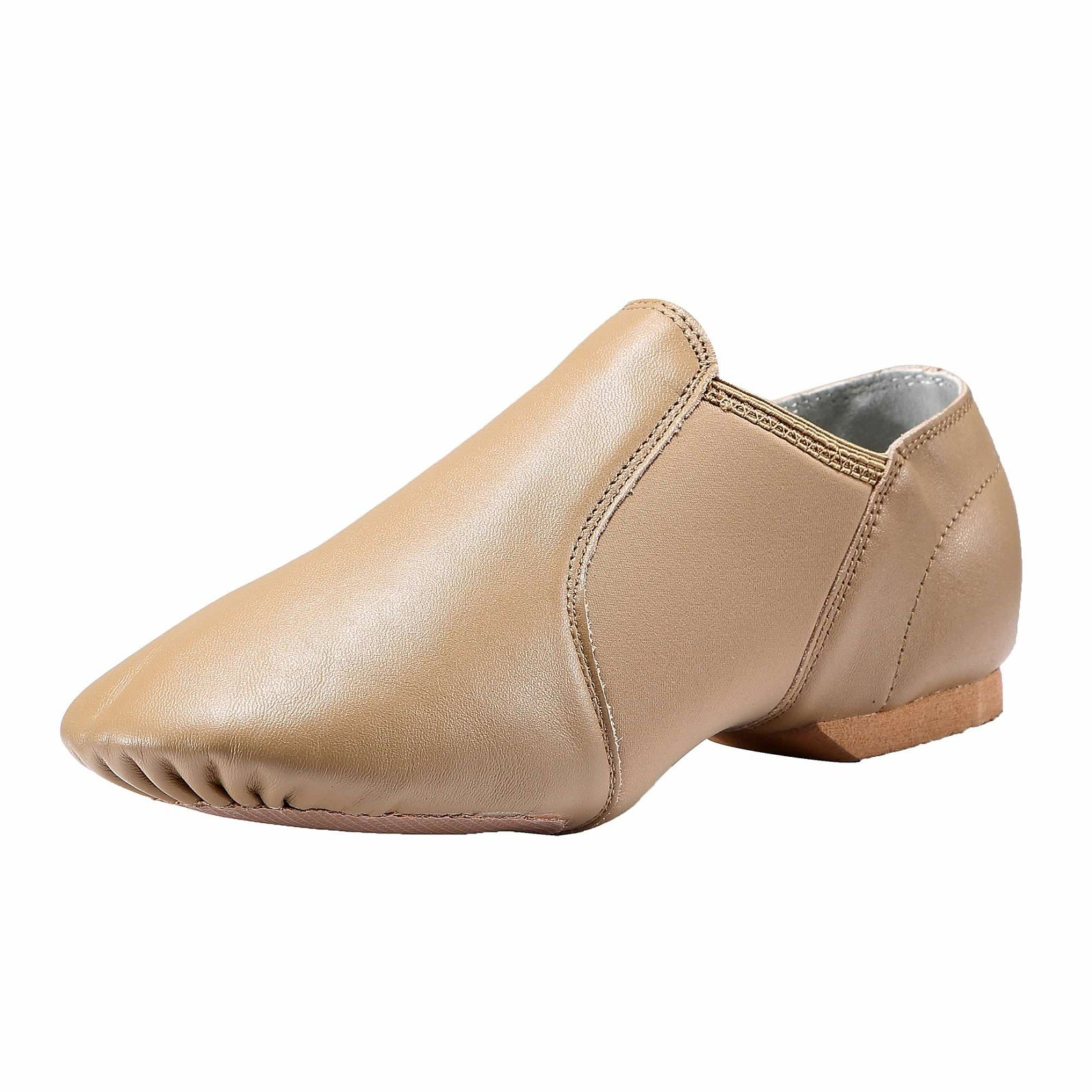 Dynadans Women's Leather Upper Slip-on Jazz Shoe Brown 8.5M