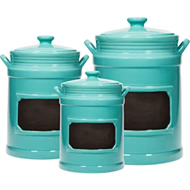 Set of 3 Chalk Canister/Jar ; Use As Storage Coffee - Rice - Flour - Sugar Canister ; Wide Mouth/Round Shape/Gasket with Lid (Aqua)