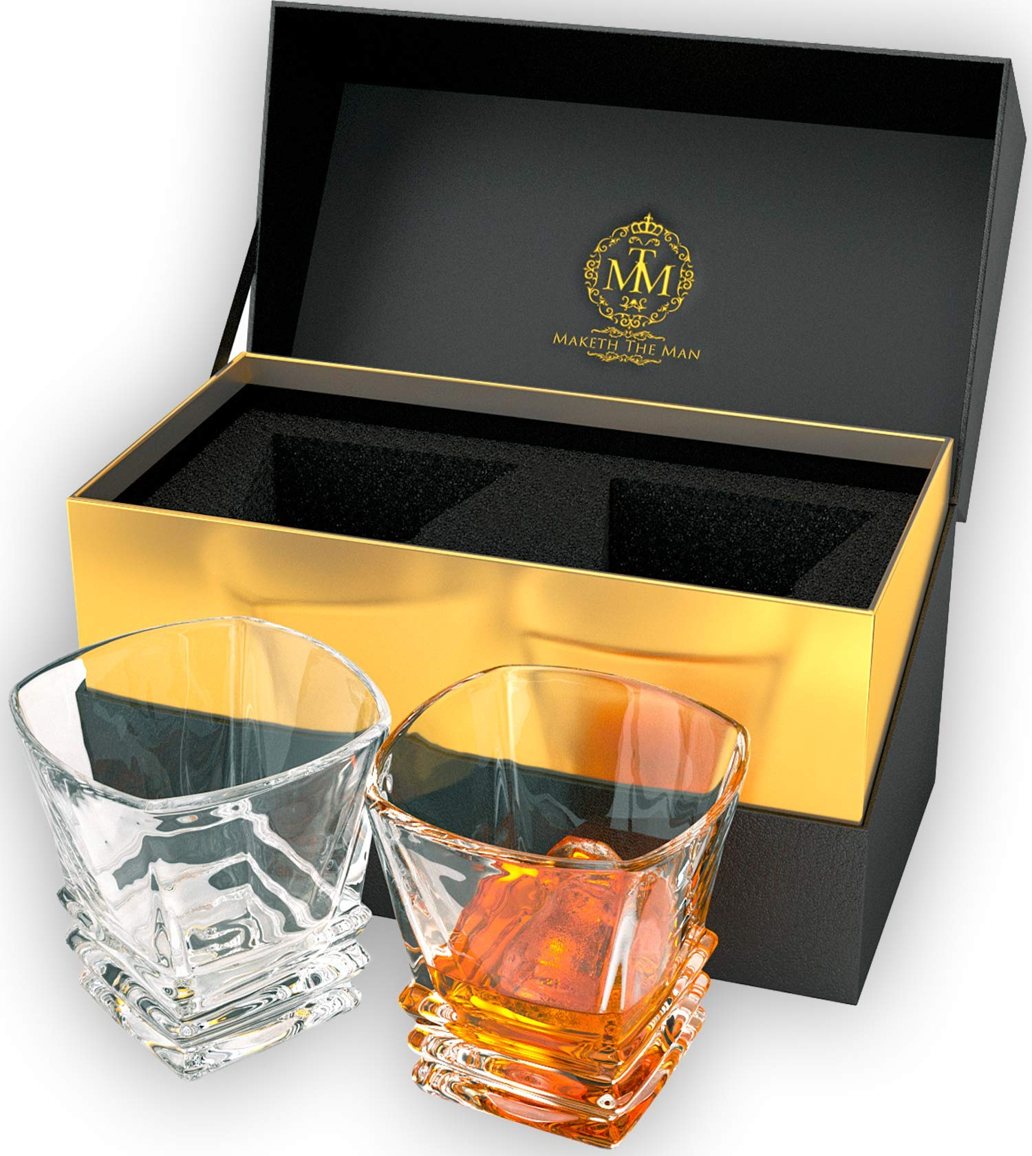 Premium Quality Art Deco Whiskey Glasses. Genuine Lead Free Crystal Glasses Set Of 2 In Stylish Gift Box. Dishwasher Safe. Double Old Fashioned Glasses, 10oz Tumblers For Whisky, Scotch Or Bourbon. by Maketh The Man