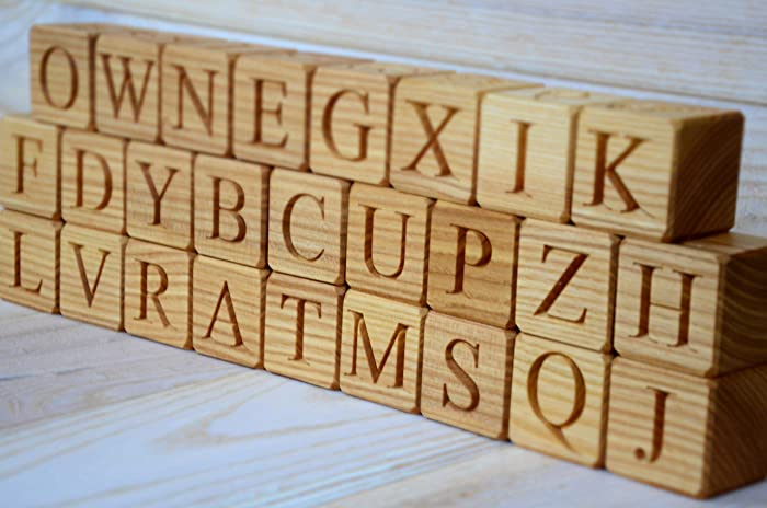 Amazon Com 26 Wooden English Alphabet Blocks Abc Wood Block
